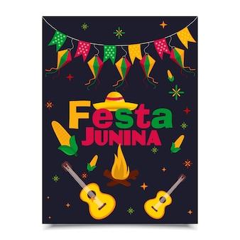 Diseño de cartel de festa junina.