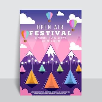 Diseño de cartel de festival de música al aire libre.