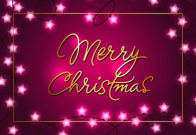 Diseño de cartel festivo de feliz navidad. luces en forma de estrella