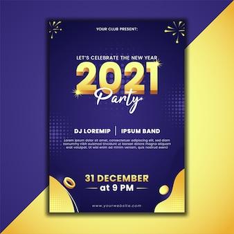 Diseño de cartel de fiesta de año nuevo 2021.