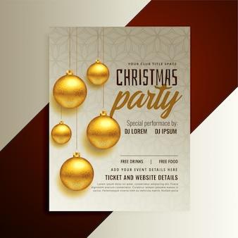 Diseño de cartel fiesta de navidad con bolas doradas.