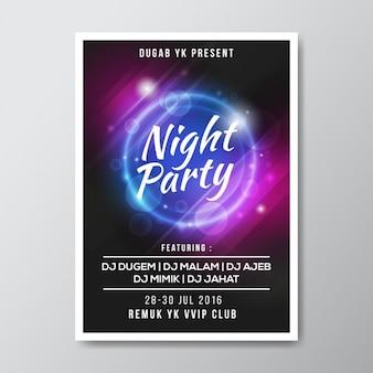 Diseño de cartel de fiesta de noche