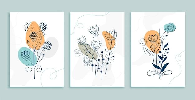 Diseño de cartel de flores y hojas de arte lineal.