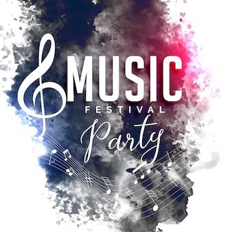 Diseño de cartel de flyer de fiesta de música de estilo grunge