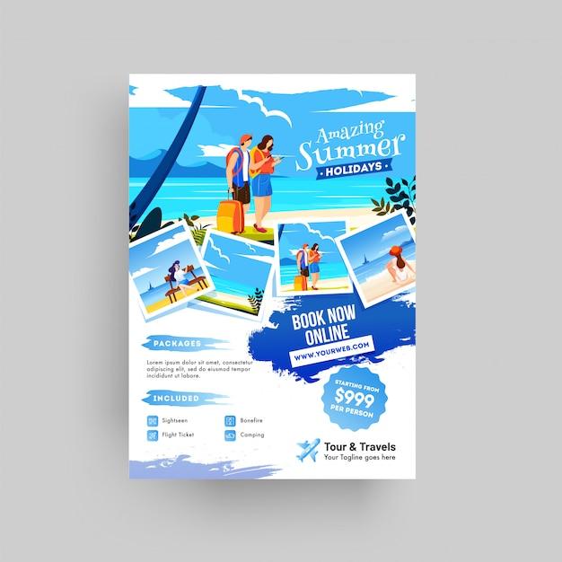 Diseño de cartel, flyer o plantilla de sitio web creativo para verano.