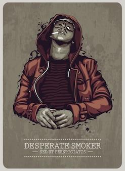 Diseño de cartel de fumador