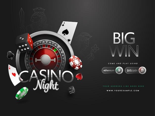 Diseño de cartel de gran ganancia de noche de casino con rueda de ruleta realista, dados, fichas, tarjetas de as decoradas con fondo negro.