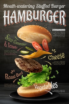 Diseño de cartel de hamburguesa sobre fondo de pizarra en ilustración 3d