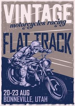 Diseño de cartel con hombre clásico en motocicleta.