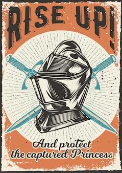 Diseño de cartel con ilustración de una armadura.
