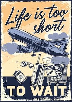 Diseño de cartel con ilustración de un avión y material de viaje.