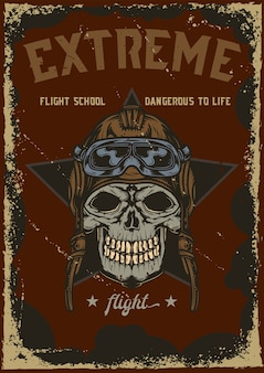 Diseño de cartel con ilustración de calavera en casco de avión