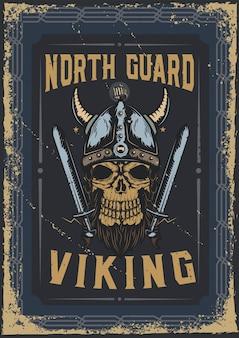 Diseño de cartel con ilustración de una calavera vikinga con casco.