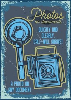 Diseño de cartel con ilustración de una cámara.