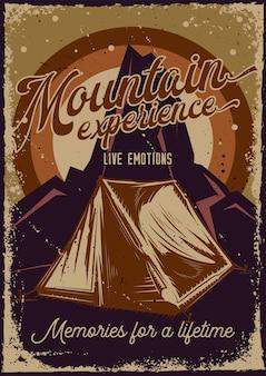 Diseño de cartel con ilustración de una carpa y montañas.