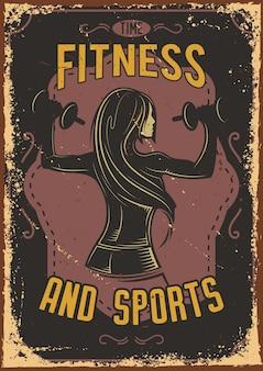 Diseño de cartel con ilustración de una chica fitness con mancuernas.