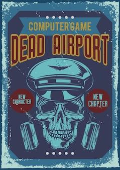 Diseño de cartel con ilustración de un cráneo-piloto.
