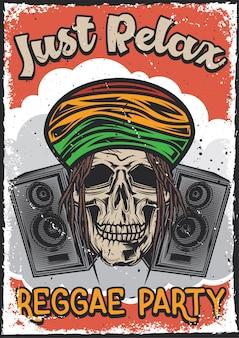 Diseño de cartel con ilustración del cráneo de un rasta.