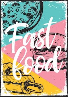 Diseño de cartel con ilustración de diferentes tipos de comida rápida.