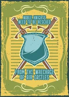 Diseño de cartel con ilustración de espadas y un escudo.