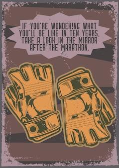 Diseño de cartel con ilustración de guantes de senderismo.