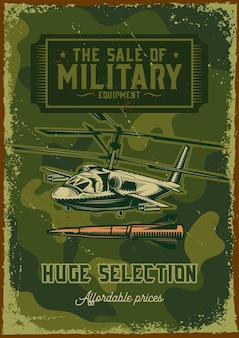 Diseño de cartel con ilustración de un helicóptero militar.