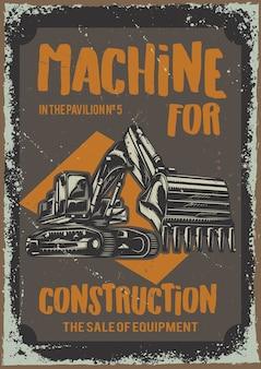 Diseño de cartel con ilustración de maquinaria para la construcción.