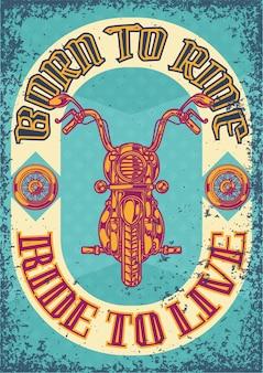 Diseño de cartel con ilustración de una motocicleta y ruedas.