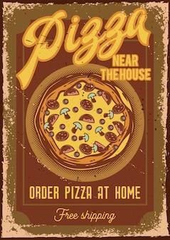 Diseño de cartel con ilustración de una pizza.