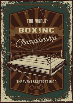 Diseño de cartel con ilustración de publicidad del campeonato de boxeo.