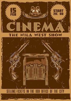 Diseño de cartel con ilustración de salón, sombrero y pistolas.