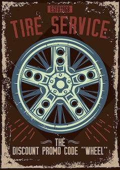 Diseño de cartel con ilustración de un servicio de neumáticos.
