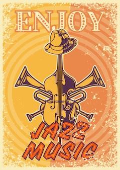 Diseño de cartel con ilustración de un sombrero, una trompeta y un violín.