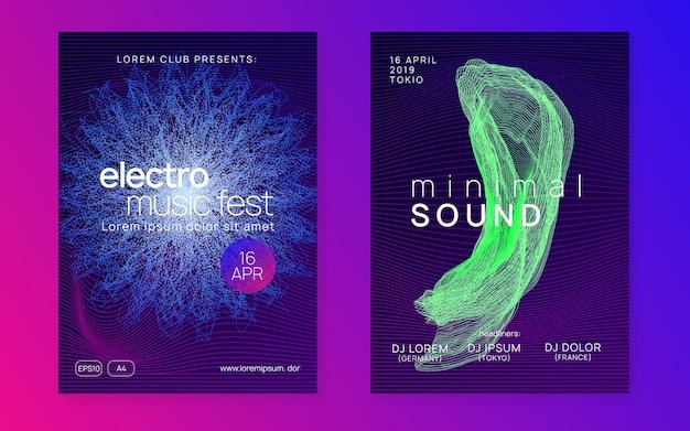 Diseño de cartel de línea y forma fluida dinámica. folleto del club de neón. música electro dance. dj de fiesta trance
