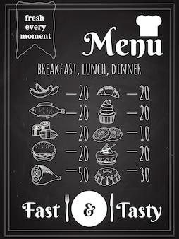 Diseño de cartel de menú de comida de almuerzo o cena escrito en pizarra