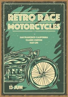 Diseño de cartel con motocicleta clásica.