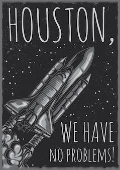 Diseño de cartel con nave espacial.