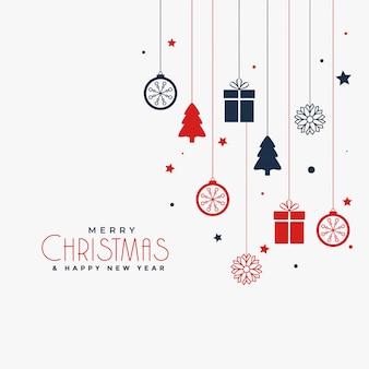 Diseño de cartel navideño con elementos decorativos.