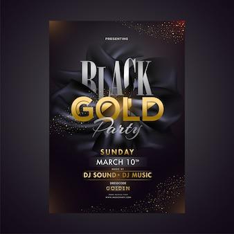 Diseño de cartel o plantilla de fiesta de oro negro con fecha, hora yv