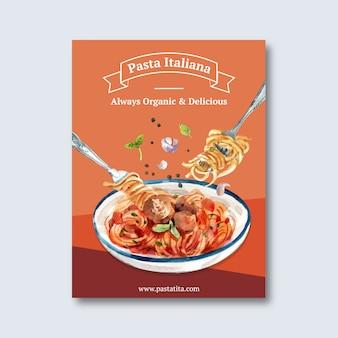 Diseño de cartel de pasta con pasta, ilustración acuarela de tenedor.
