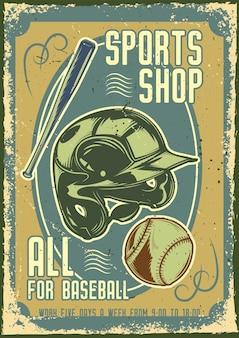 Diseño de cartel publicitario con ilustración de casco de béisbol, una pelota y un bate