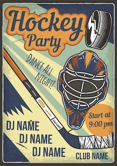 Diseño de cartel publicitario con ilustración de casco de hockey y un club
