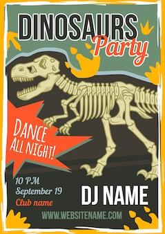 Diseño de cartel publicitario con ilustración de dinosaurio.