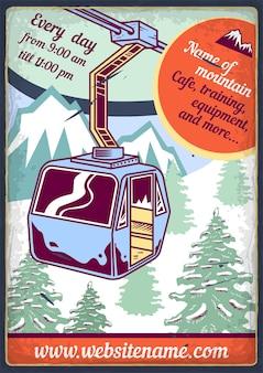 Diseño de cartel publicitario con ilustración de teleférico y madera.