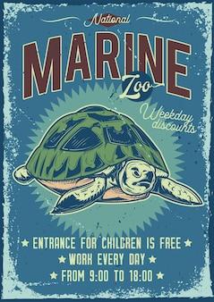 Diseño de cartel publicitario con ilustración de tortuga