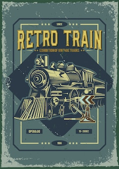 Diseño de cartel publicitario con ilustración de un tren.
