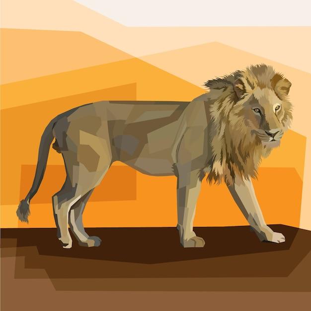 Diseño de cartel de retrato de arte pop de rey león geométrico poligonal, estampado animal editable