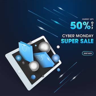 Diseño de cartel de super venta de cyber monday