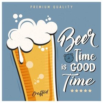 Diseño de cartel de tipografía de cerveza