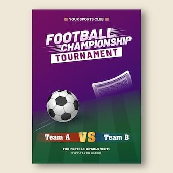 Diseño de cartel de torneo de campeonato de fútbol con equipo participante a vs b en color morado y verde